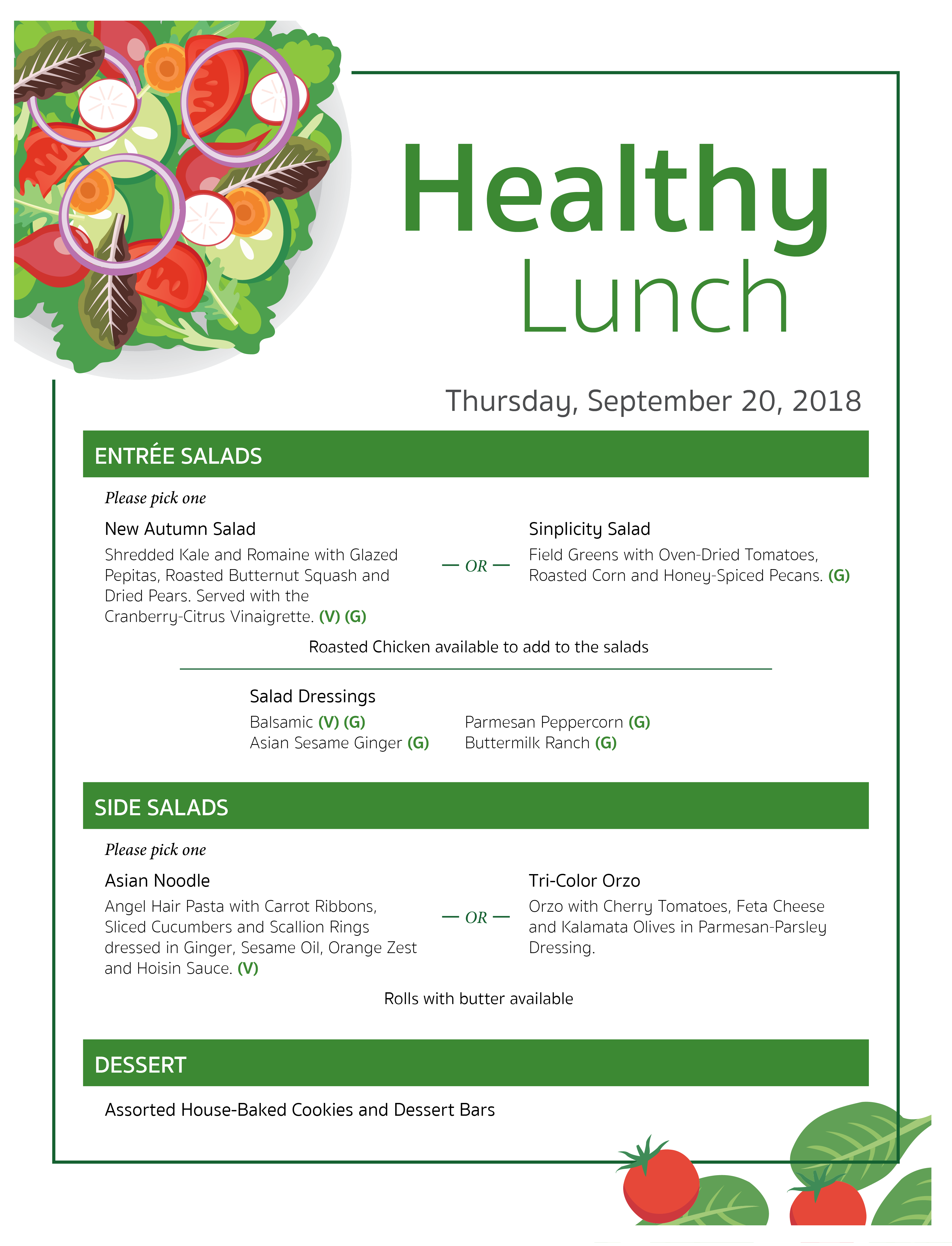 Healthy Lunch Event Menu